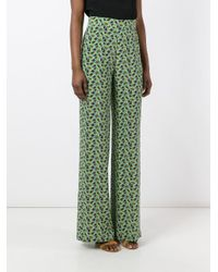 Etro - Green Floral Print Flared Trousers - Lyst