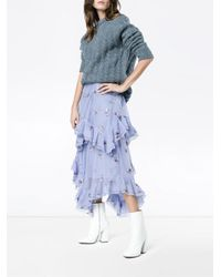 Erdem - Multicolor Elsa Floral Embroidered Tiered Ruffle Skirt - Lyst