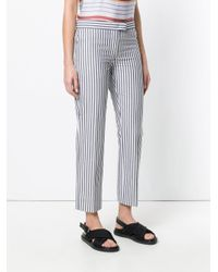 PS by Paul Smith - Gray Striped Slim-fit Cropped Trousers - Lyst