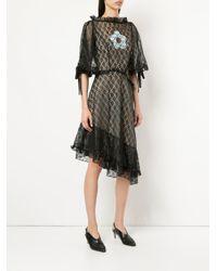 Sandy Liang - Black Asymmetric Hem Lace Dress - Lyst