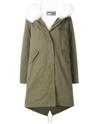 Army by Yves Salomon - Green Fur-trim Parka Coat - Lyst