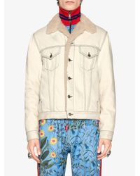 Gucci - Blue Shearling Lined Denim Jacket With Sketch Snake Print for Men - Lyst