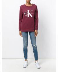 Ck Jeans - Red Logo Print Sweatshirt - Lyst