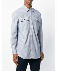 DSquared² - Blue Striped Curved Hem Shirt for Men - Lyst