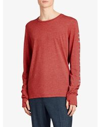 Burberry - Red Devoré Long Sleeve T-shirt for Men - Lyst