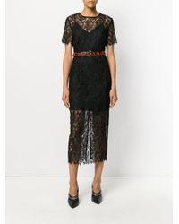 Diane von Furstenberg - Black Overlay Midi Dress - Lyst