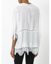 Twin Set - White Lace Detail Buttoned Blouse - Lyst
