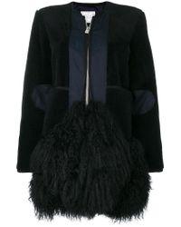 Sacai - Black Zipped Fur Embellished Coat - Lyst