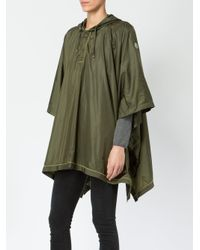Moncler - Green Hooded Poncho Coat - Lyst