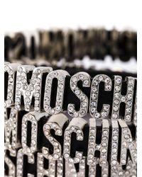 Moschino - Black Logo Plaque Wrap Around Bracelet - Lyst