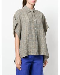 Hache Brown Short-sleeve Plaid Shirt