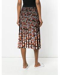 KENZO - Black Jackie Flowers Pleated Skirt - Lyst