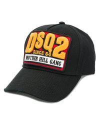DSquared² Dsq2 Patch Baseball Cap in Black for Men - Lyst 145aaf30af92