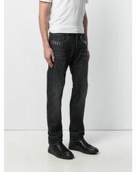 Versace Black Studded Straight-leg Jeans for men