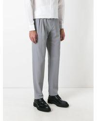 Giorgio Armani - Gray Mid-rise Crepe Trousers for Men - Lyst