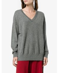 FRAME - Gray Grey V-neck Knitted Sweater - Lyst