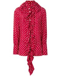 Marni Red Patterned Ruffle Blouse