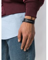 Balenciaga - Black Logo Embroidered Bracelet for Men - Lyst
