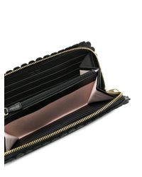 RED Valentino - Black Scalloped Trim Continental Wallet - Lyst