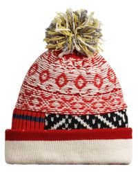 Burberry - Red Fair Isle Patchwork Beanie - Lyst