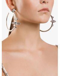 Miu Miu Metallic Crystal Embellished Hoop Earrings