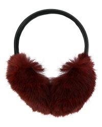 Yves Salomon - Red Fur-lined Ear Muffs - Lyst