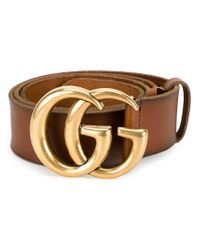 Gucci - Brown 'gg' Logo Belt - Lyst