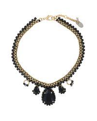 Oscar de la Renta - Black Gemstone Pendant Necklace - Lyst