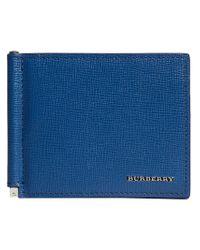 Burberry - Blue London Money Clip Card Wallet for Men - Lyst