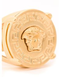 Versace Metallic Gold Tone Medusa Logo Signet Ring for men