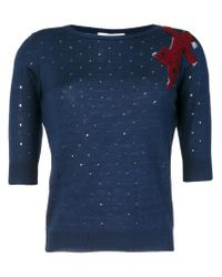 Sonia by Sonia Rykiel - Blue Perforated Animal Patch Top - Lyst