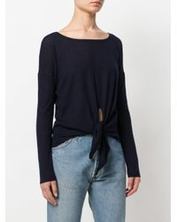 N.Peal Cashmere - Blue Tie Front Jumper - Lyst
