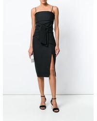 Misha Collection Black Raw Edge Waist Tie Dress