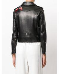 Saint Laurent Black Flamingo Embroidered Biker Jacket