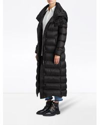 Burberry - Black Long Puffer Coat - Lyst