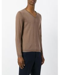Drumohr - Brown V-neck Jumper for Men - Lyst