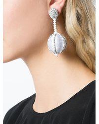 Oscar de la Renta - Gray Single Line Dropped Ball Clip-on Earrings - Lyst