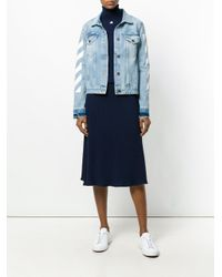 Courreges - Blue Ribbed Flared Skirt - Lyst