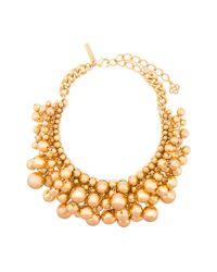 Oscar de la Renta - Metallic Beaded Statement Necklace - Lyst