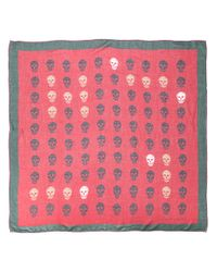 Alexander McQueen - Red Skull Print Scarf for Men - Lyst