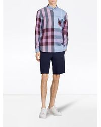 Burberry - Blue Check Stretch Shirt for Men - Lyst