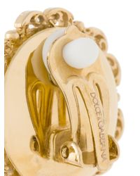 Dolce & Gabbana - Metallic Clock Clip-on Earrings - Lyst