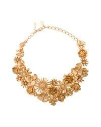 Oscar de la Renta | Metallic Large Gilded Floral Necklace | Lyst