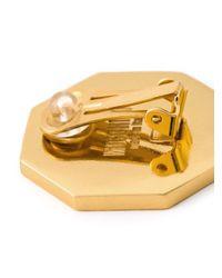Moschino - Metallic Shop Clip On Earrings - Lyst
