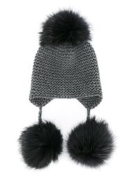 85aa6952e35 Inverni Fox Fur Triple Pom Pom Beanie Hat in Gray - Lyst