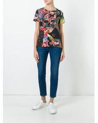 Alexander McQueen - Black Floral Skull Tablecloth Print T-shirt - Lyst