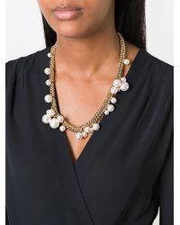 Lanvin - Metallic Pearl Hoop Detail Necklace - Lyst
