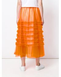 P.A.R.O.S.H. Orange Long Ruffle Skirt