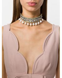 Shourouk - Metallic Pearl Choker Necklace - Lyst