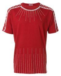 Valentino - Red Bead Embellished T-shirt for Men - Lyst